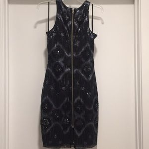 Cache Dresses - Cache Navy and Black Sequin Dress